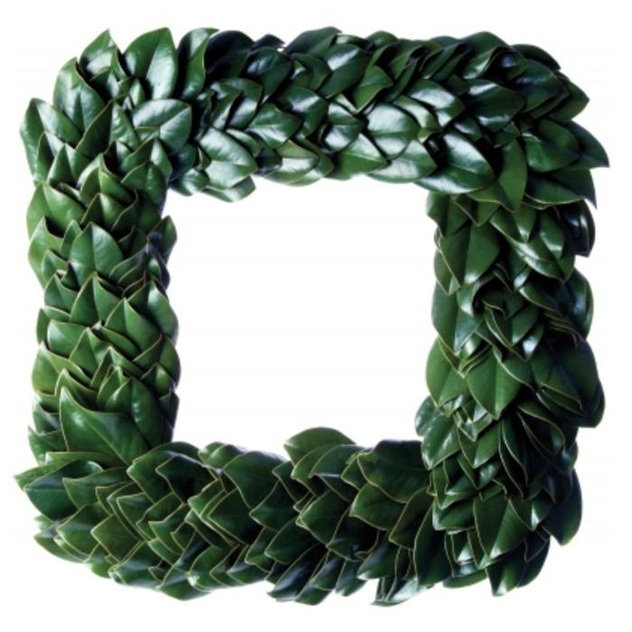 All Green Magnolia Square Wreath 16""