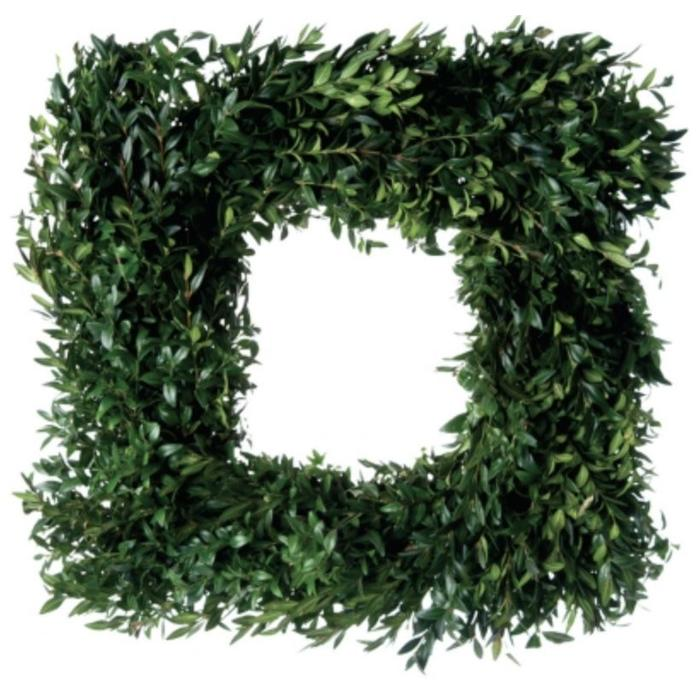 "Fresh Boxwood Square Wreath 24"""