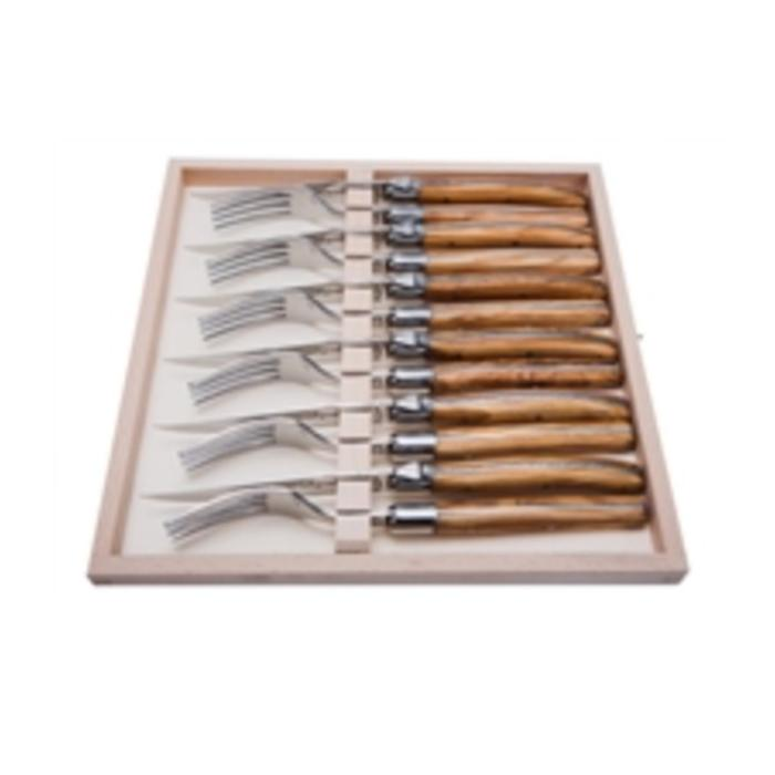 Jean Dubost 12 PC Flatware Set/Olive Wood 6knives/6forks