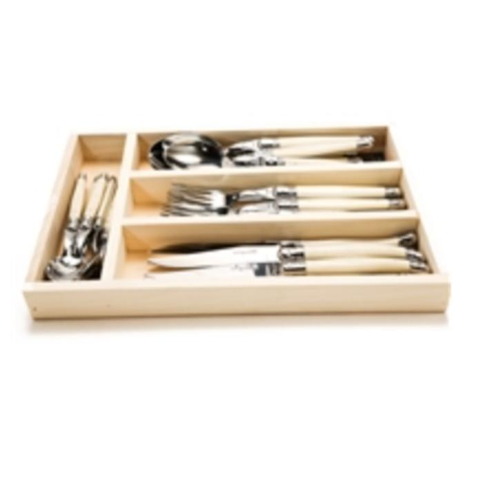 Laguiole 24 PC Flatware Set Ivory in Wooden Tray by Jean Dubost