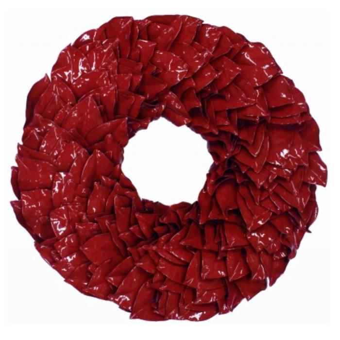 """Lacquered Magnolia Wreath - Holiday Red 34"""""""