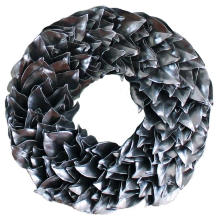 Lacquered Magnolia Wreath - Silver 23""