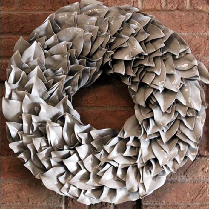"""Lacquered Magnolia Wreath - Truffle 34"""""""