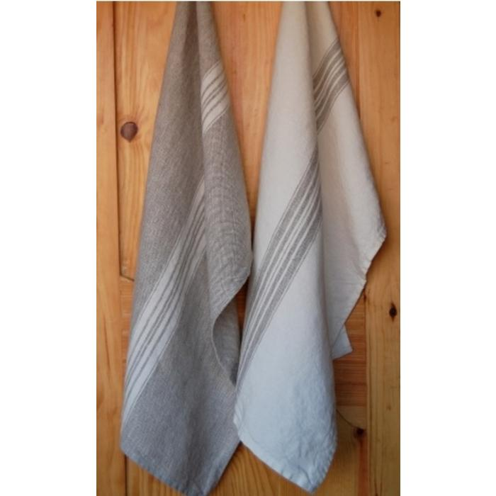 Linen Maison tea towel, beige with white stripe