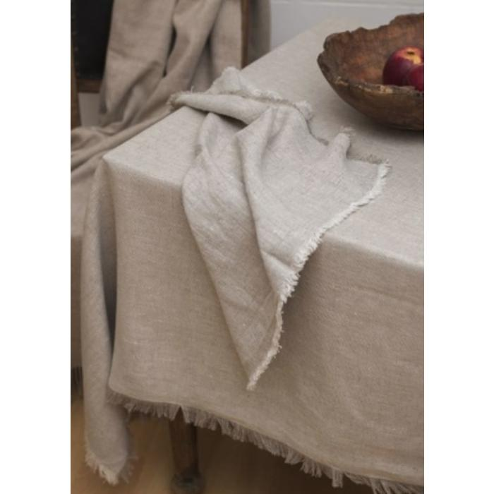 Barra tablecloth, beige with fringe edge 55 x 55