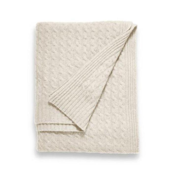 Cashmere Throw, 6 ply Classic Cable, Ivory