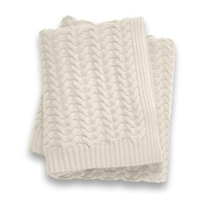 Cashmere Throw, 12 Ply, Small Wave Weave Ivory