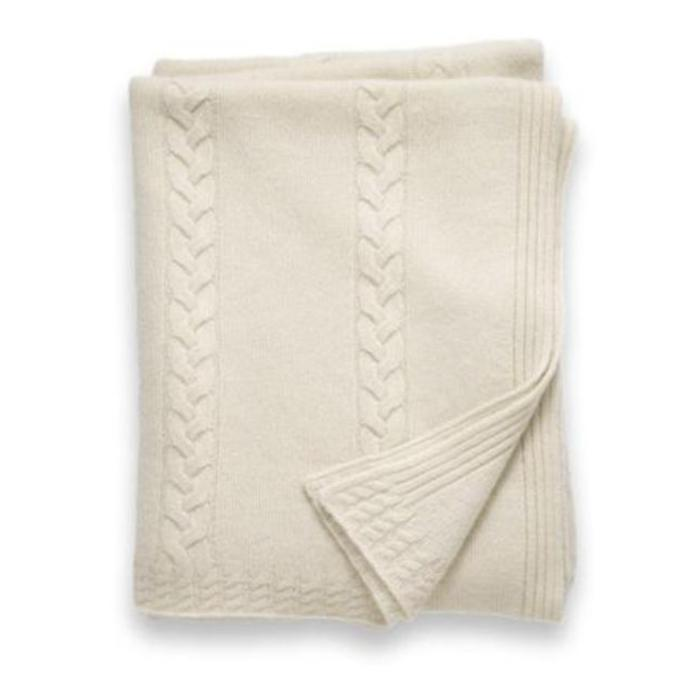 Cashmere Throw, 6 ply, Cable Stripe, Ivory