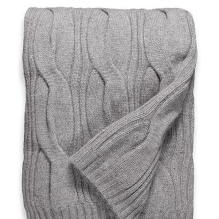 Cashmere Throw, 12 ply Oversized Cable Pattern, Gray
