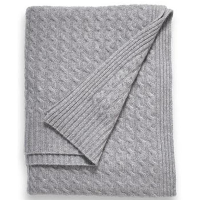 Cashmere Throw, 6 ply Classic Cable, Gray