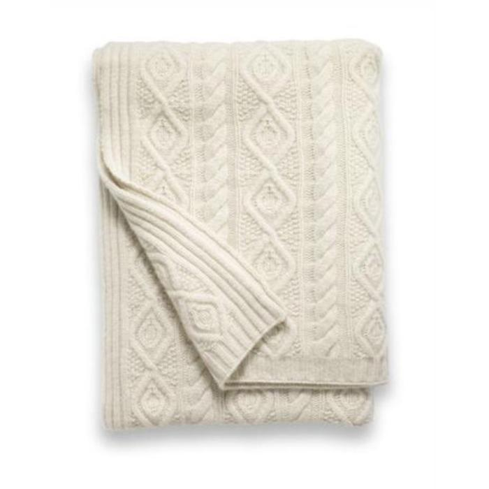 Cashmere Throw, 12 ply, Ornate Cable, Ivory