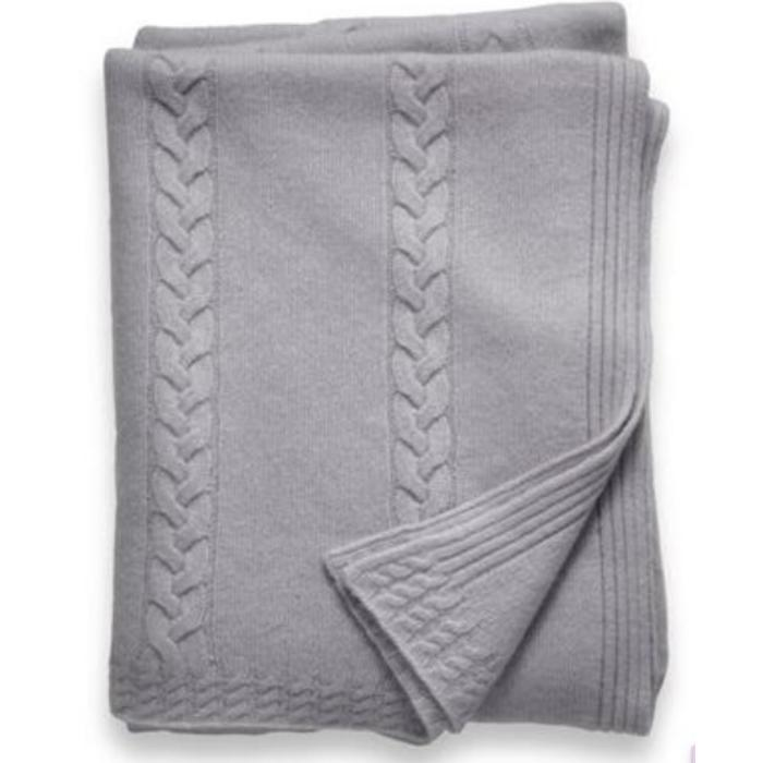Cashmere Throw, 6 ply, Cable Stripe, Gray