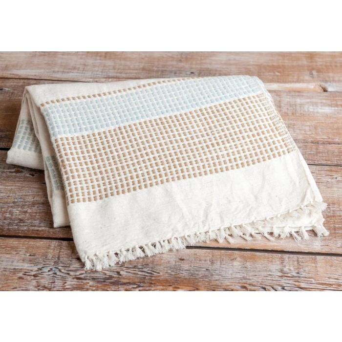 Hand Woven Beach Blanket, Sand/Azure color