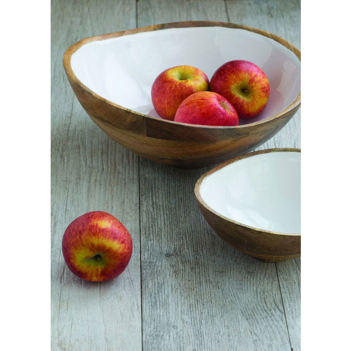Mango Wood Bowl w/ White Enamel Interior -LG