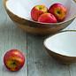 Mango Wood Bowl w/ White Enamel Interior -LG