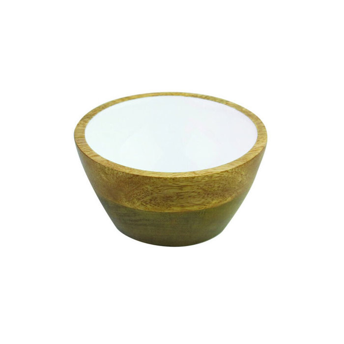 Mango Wood Bowl w/White Enamel - SM