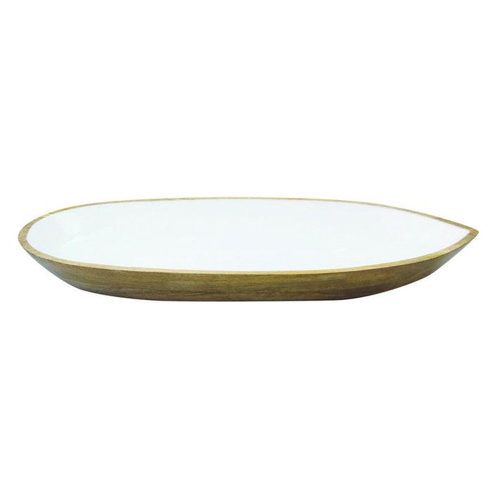 Mango Wood w/White Enamel Oval Dish LG