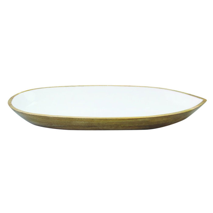 Mango Wood w/White Enamel Oval Dish SM