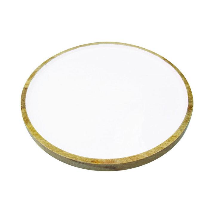 Mango Wood w/White Enamel Round Platter