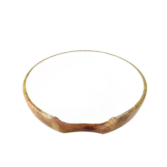 Mango Wood w/White Enamel Spoon Rest