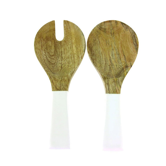 Mango Wood w/White Enamel Serving Set
