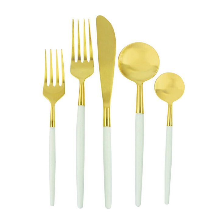 SET FLATWARE for 6 place settings- White & Gold
