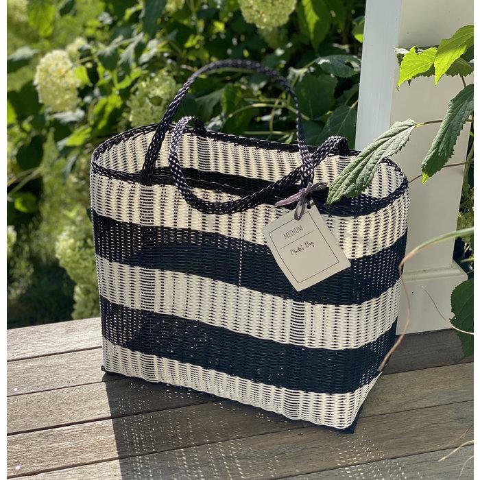 Market/Beach Tote - Black and White Stripe