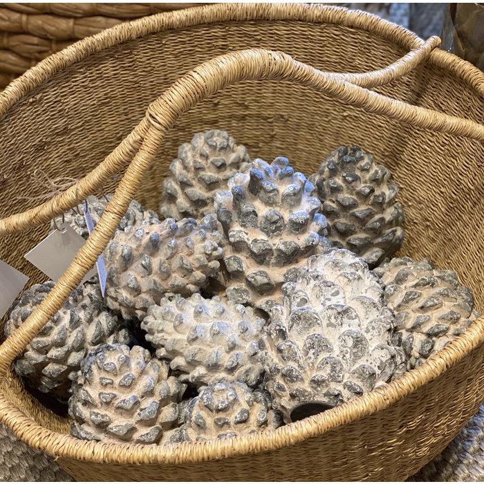 Ceramic  Pine Cone - white moss med