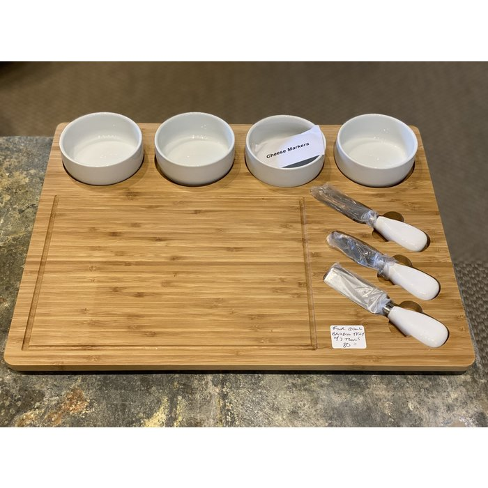 Four Bowls on Serving Board w/3 Tools
