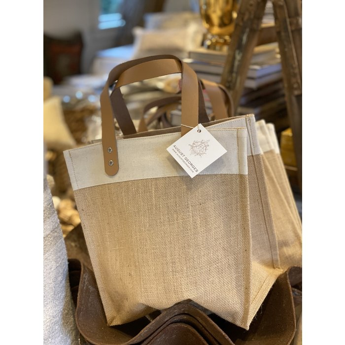 Uptown Wine Tote w/leather handles