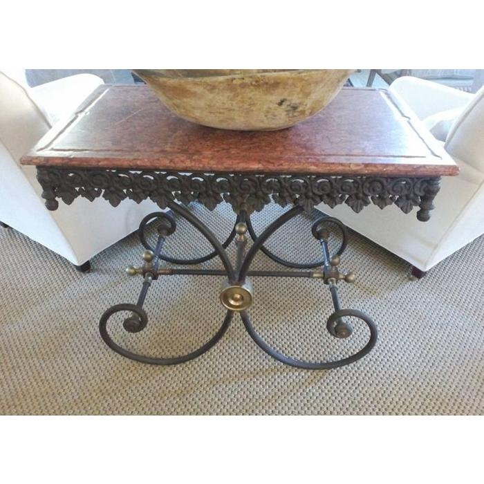 French Wrought Iron Butcher's Table with Marble Top