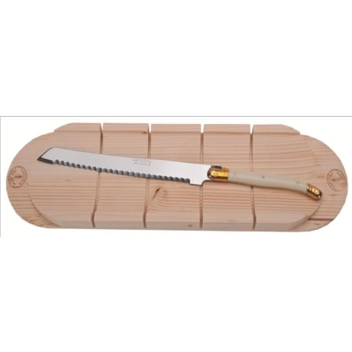 Jean Dubost Bread Knife with Ivory handle and a Baguette Board