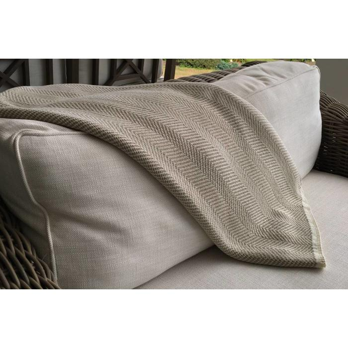 Herringbone Throw, ivory/camel color