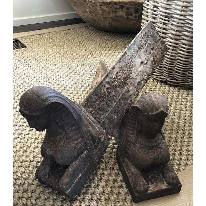 Antique Sphinx Andirons - Pair