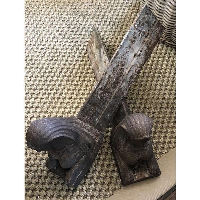 Antique Sphinx Andirons - Pair