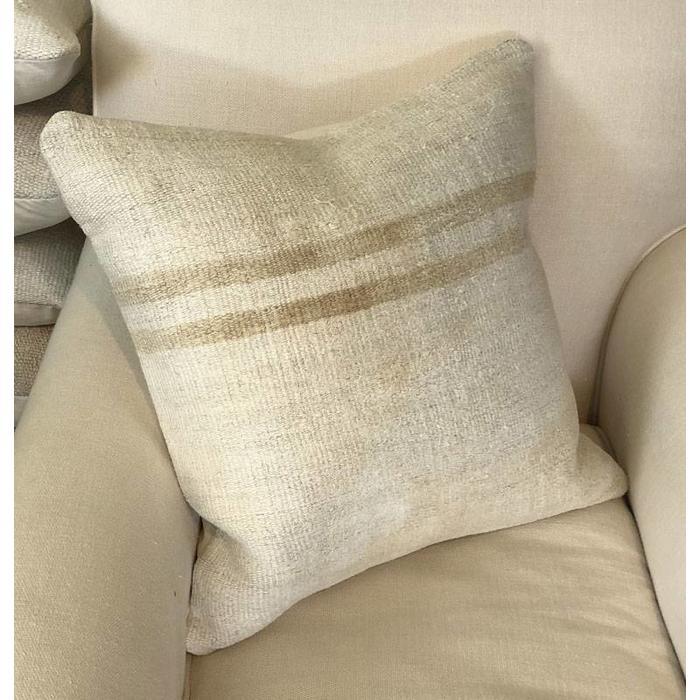 Hand Woven Hemp Throw Pillow w/Down Insert