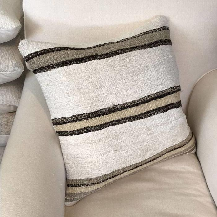 Hand Woven Hemp Throw Pillow w/Down Insert