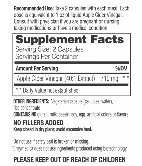 Enzymedica Enzymedica Apple Cider Vinegar Capsules 60ct