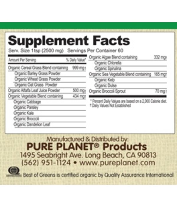 Pure Planet Pure Planet Best of Greens Original Unflavored 60 Servings 150 g