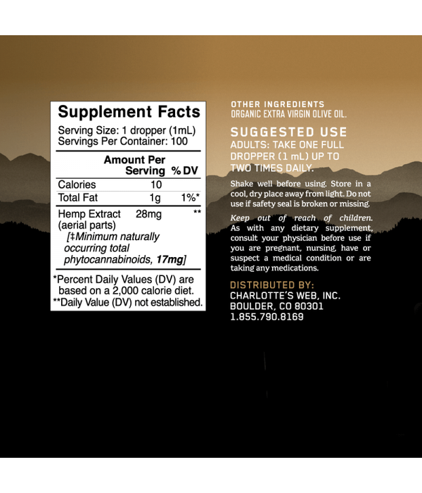 Charlotte's Web Extra Strength Olive Oil 3.38oz
