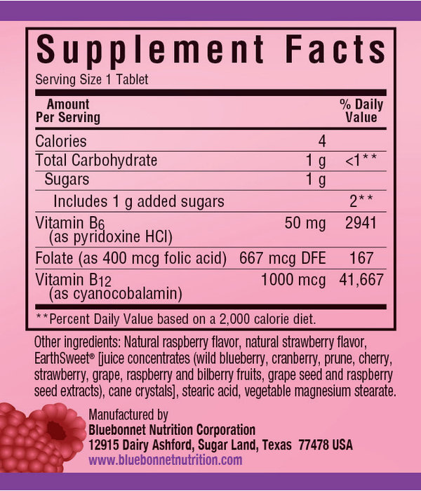Bluebonnet Chewable Vitamin B6, B12 + Folic Acid 60ct