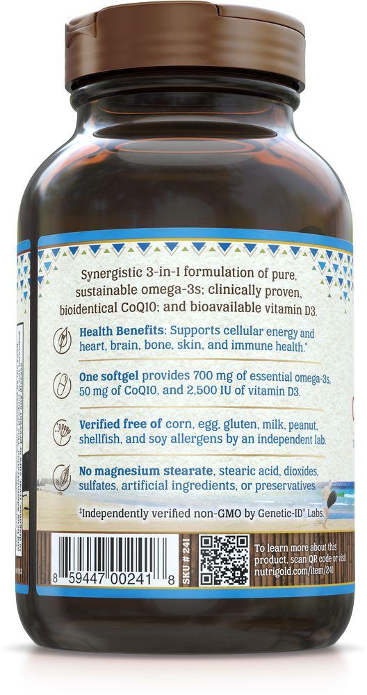 Nutrigold Omega-3 + CoQ10 + D3 60ct