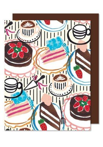 Carte de souhaits table de desserts