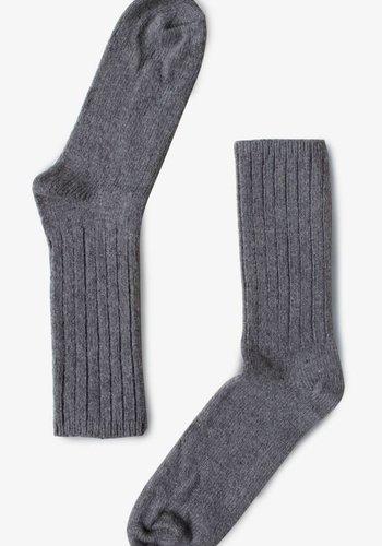Bas  en laine de Mérino gris  B-0011