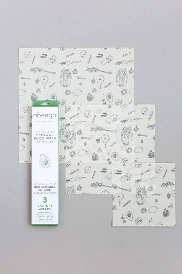 Abeego Beeswax food wraps - Reusabale variety pack