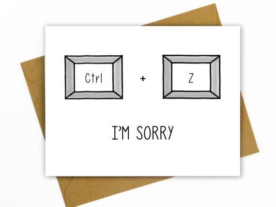 Hellafresh designs Hella Fresh - Carte I'm Sorry CTRL + Z