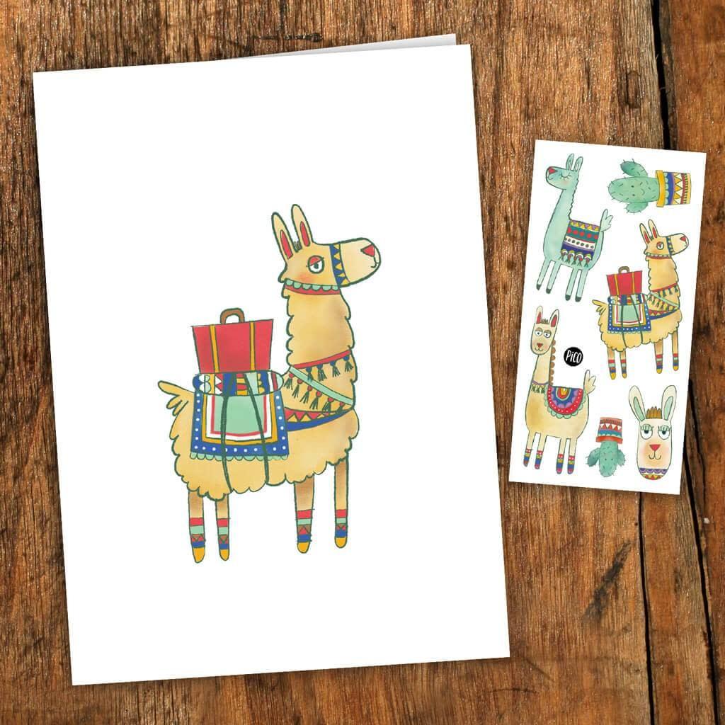Pico tatoo Pico Tatoo - Greeting card - Noah the alpaca