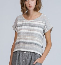 Pillar Christiana linen striped top