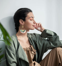 This Ilk Tamy Earrings (White/Green)
