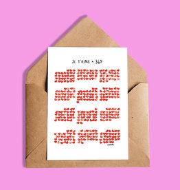 Darveelicious Je t'aime 365 Carte de souhaits